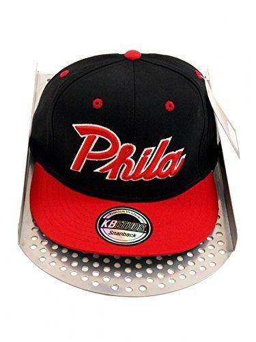 Retro Équipe Snapback Baseball Chapeau Casquette Phila - Homme, Noir/ Rouge, Taille Unique