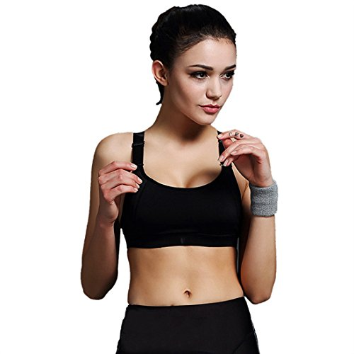 Encounter Handsome Komfort Damen Starker Halt Gepolsterter Push up Ohne Buegel Sport BH Bustier Stretch Sports Bra Top Fuer Yoga Fitness-Training, Schwarz, M (Asien L)