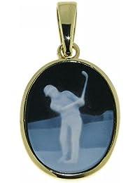 Derby Anhänger Gemme Achat Golfspieler 16 x 12 mm Kamee 14 Karat (585) Gelbgold - 13196
