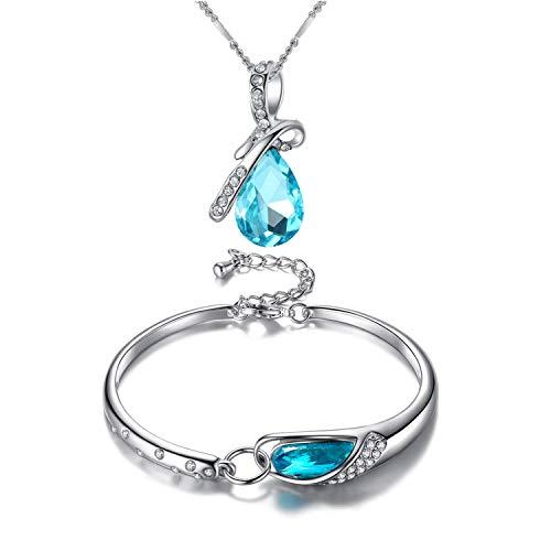 Cool-House-UK Jewelry Weihnachten Set Geschenk Bester Blue Sky Glass Schuhe Halskette Armband -