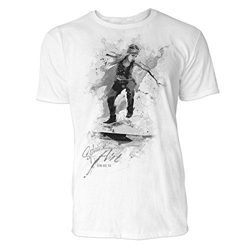 Skateboarderin Sinus Art ® Herren T Shirt ( Schwarz Weiss ) Sportshirt Baumwolle (Skateboard Von Bam Margera)