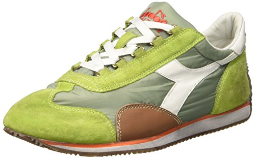 Diadora  Equipe Nyl Sw Waxed, Pompes à plateforme plate mixte adulte Verde (Lime Punch/White)