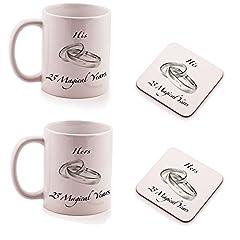Idea Regalo - Ukgiftbox - Set regalo di 2 sottobicchieri e 2 tazze per lui e per lei, adatto come regalo per anniversario nozze d'argento