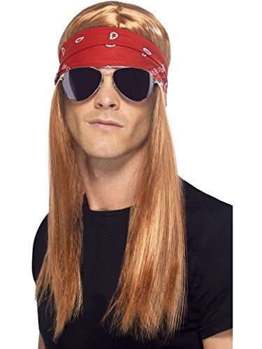 Smifis Kostüm Zubehör 90er Jahre Rocker Perücke Tuch Brille Karneval (Rocker Kostüm Zubehör)