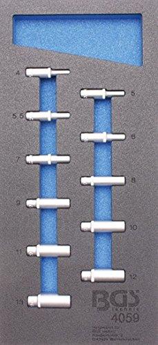 Preisvergleich Produktbild BGS 1 / 3 Werkstattwageneinlage Steckschlüsseleinsätze 6, 3 (1 / 4),  6-kant,  tief,  4-13 mm,  11-teilig,  4059