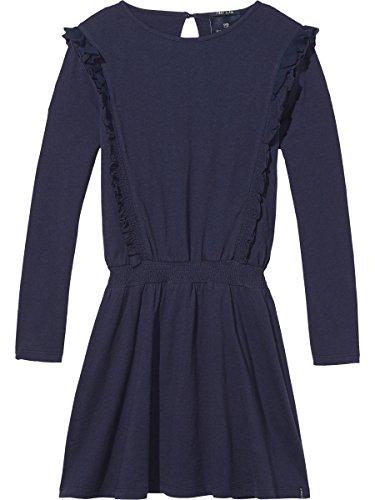 Scotch & Soda R'Belle Mädchen Chiffon Ruffle Jersey Kleid, Blau (Night 002), 176 (Herstellergröße: 16) (Belle Kleid Mädchen Blau)