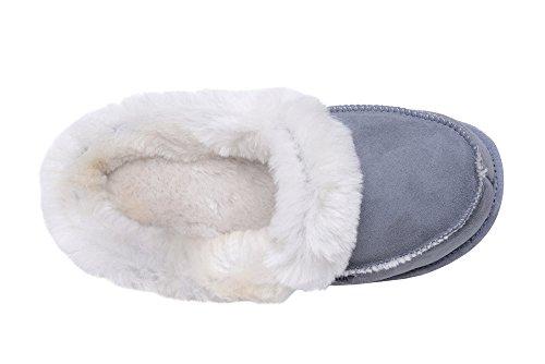Chaude Peau de Mouton et de la Laine Naturelle Pantoufles / Chaussons Semelle Souple Mule pour Femme et Hommes Gris/Blanc