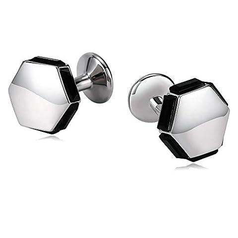 Epinki Herren Manschettenknöpfe Hexagon mit Cubic Zirkonia Silber Schwarz Hochzeit Bräutigam Männer Geschenk