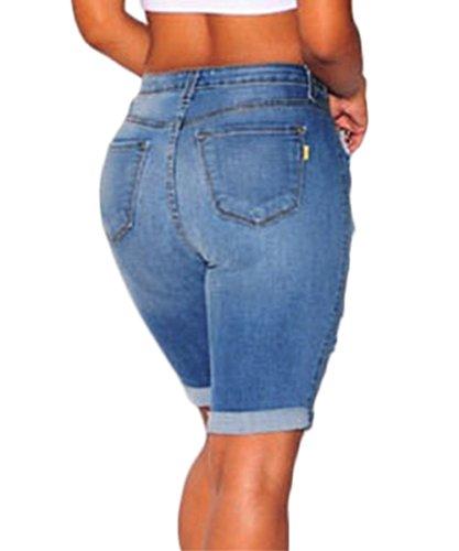... AJ FASHION Damen Distressed Denim Shorts Knielang Hoher Bund Zerrissene  Jeans Blau ...