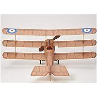 Avión triplano completo, estilo retro, madera de balsa, propulsado con una goma elástica, vuela de verdad