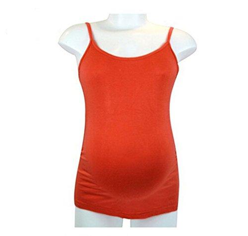My Sunshine : Femme Enceinte Débardeur en Coton Top à Fin Bretelle pour Femme Grossesse (Orange)
