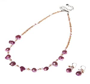 Oi! Pink/Purple Fresh Water Pearl and Crystal Necklace 46cm-50cm Oi! Purple/Pink Fresh Water Pearl & Crystal Crystal Earrings Sterling Silver Hooks