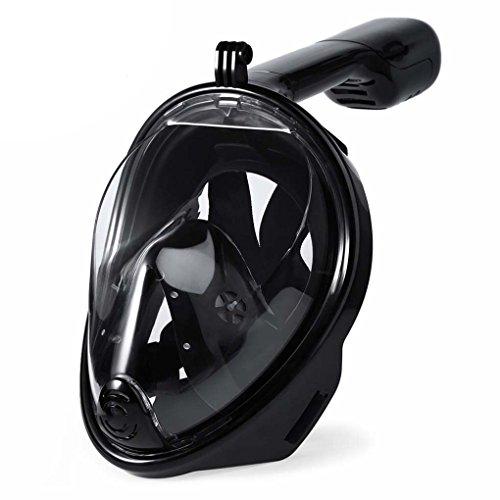 Providethebest SMACO Full Face Masken Schnorchel Panoramablick Anti-fog Anti-Leak Schwimmen Schnorchel Scuba Unterwasser-Tauchmaske ganz schwarz S/M (Maske Full Schnorchel Face)