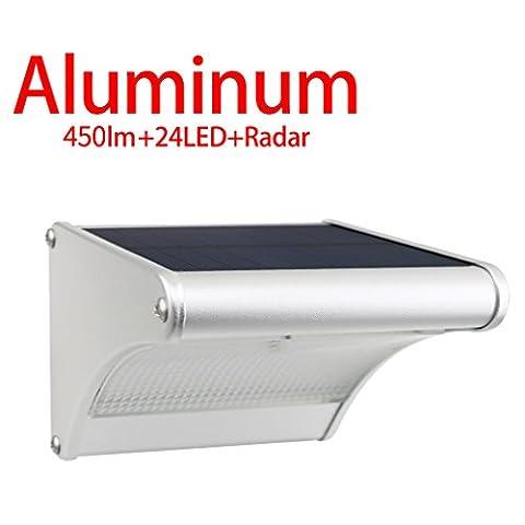 Licwshi 450 Lumens Solarleuchten 24 LED mit Aluminiumlegierungsgehäuse, Wasserdichtkeit im Freien, Radar-Bewegungsinduktion, es ist geeignet für Laubengang, Garten, Hof, Garage( neue Version 2017- 1 Packung)