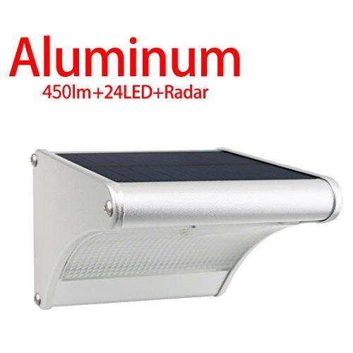 Licwshi 450 lumens lampe solaire 24 LED avec coque en alliage d'aluminum, imperméable en plein air, radar-détection de mouvement, s'appliquant au porche, jardin, cour, garage(2018 version-1 Pack)