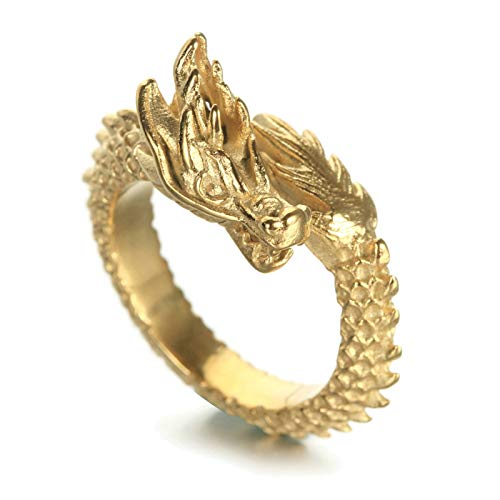 Aeici Ring Herren Biker Gold Chinesischer Drache Ring Ringe Gold Ringgröße 60 (19.1)