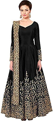 HK Textiles Women\'s Cotton Silk Embroidered Bangalori Silk Anarkali Gown (Black, Free Size)