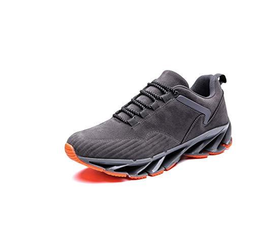 QINGMM Uomo Donna Sneakers Ultra Lightweight Scarpe da corsa Allenamento Sneakers traspirante Knit Lace Up Men Sneaker,Grigio,41EU