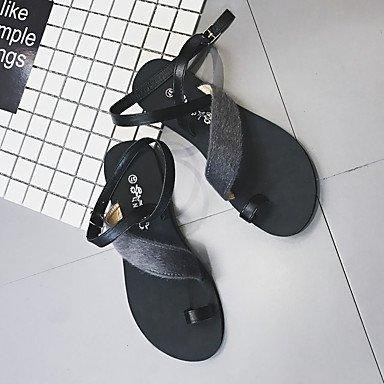 LvYuan Da donna Sandali PU (Poliuretano) Primavera Estate Fibbia Piatto Nero Grigio Meno di 2,5 cm Black