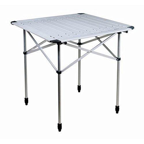 Aluminium Beistelltisch Campingtisch Aufrollbar mit Tragetasche von Reimo (Einheitsgrße) (Silber) -