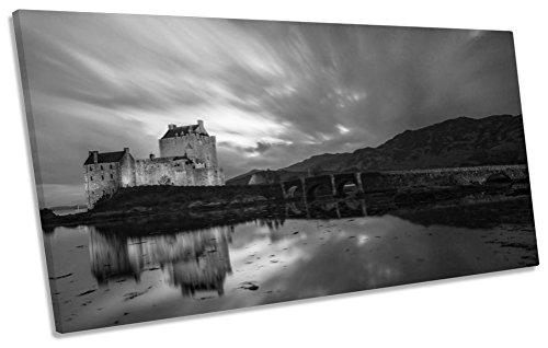 Eilean Donan Castle (Eilean Donan Castle Castle Schottland B & W Box Rahmen Leinwand Kunstdruck Panorama Bild, 180cm wide x 90cm high)
