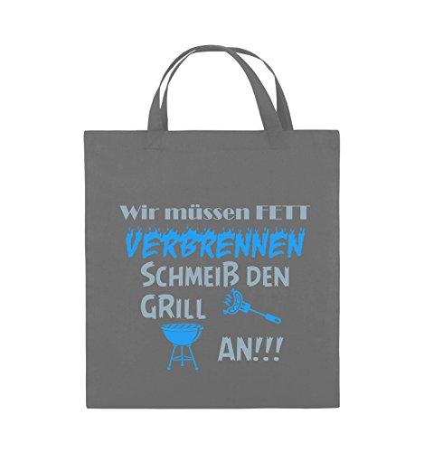 Comedy Bags - Wir müssen Fett verbrennen schmeiß den Grill an!!! - Jutebeutel - kurze Henkel - 38x42cm - Farbe: Schwarz / Weiss-Neongrün Dunkelgrau / Eisblau-Blau
