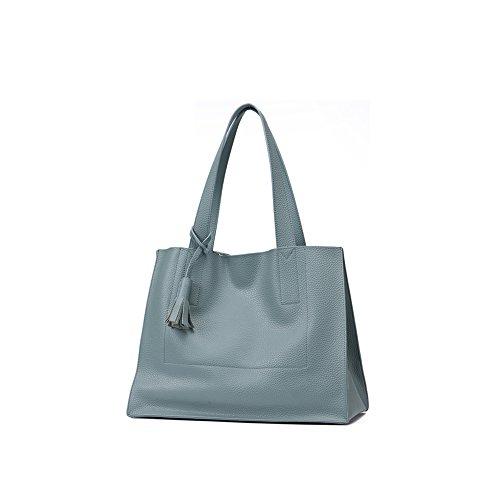 Yvonnelee Hochwertige Echtes Leder Tote Handtasche Henkeltasche Tasche Schultertasche Damen Blau
