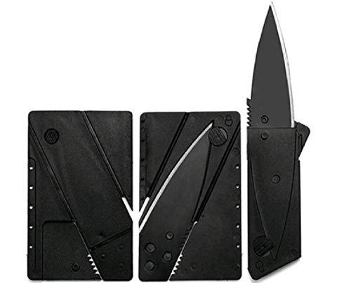 WOO LANDO Coltello per Carte di Credito, Spessore 3 mm, Lama e Manico Neri, Completamente Pieghevole, Outdoor- Survival- e Utility Knive