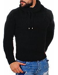 Young   Rich Herren uni Strick Pullover mit Rollkragen Schalkragen Tube  Collar grober Strickpullover slimfit einfarbig d7b01ff878