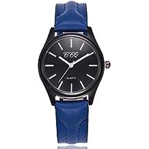 Reloj de mujer Casual Cuarzo Banda de cuero Nuevo Correa Cosa análoga Reloj de pulsera Relojes LMMVP (Tamaño libre, B)