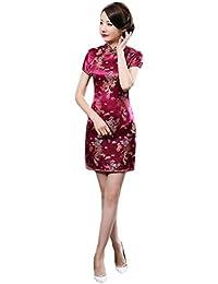 63f65379d922 Hzjundasi Cinese Tradizionale Donne Retro Floreale Stampato Maniche Corte  Cheongsam Broccato Qipao Vestito da Sera ...