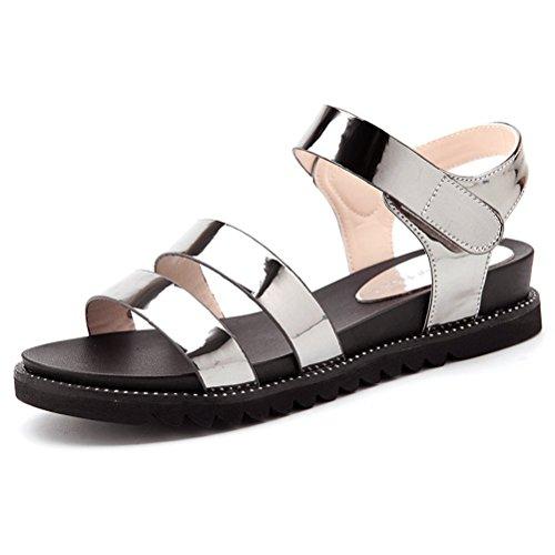 841e82ed582533 Damen Sommer Moderne Sandalen Offene Zehen Plateau Riemchen Schnalle  Anpassened überall Flach Studenten Schuhe Gold