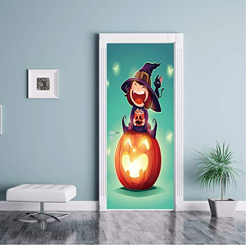 GLYOUNG Türtapeten Happy Halloween Scary Horror Poster Tür Aufkleber Malerei Tapete Wandaufkleber Party Schlafzimmer Wohnkultur Geschenke 77 * 200 cm