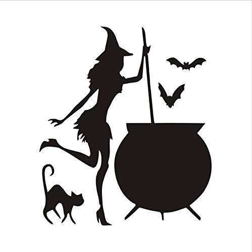 LONGTENGHEIHA Witch Vinly Wandaufkleber Halloween Cauldron Potion Fledermäuse Black Cat Adhesive Wandaufkleber Wanddekor Wandtattoos Dekoration