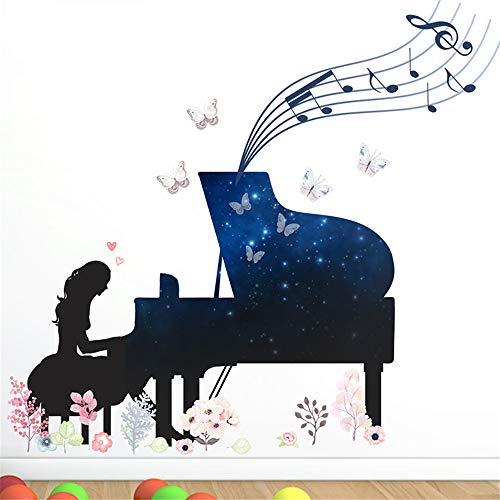 Ein Mädchen Spielen Klavier Wandaufkleber Für Kinderzimmer Schlafzimmer Dekoration Musik Fans Wandbild Kunst Abziehbilder Kreative DIY PVC Poster (Klavier-musik-dekorationen)