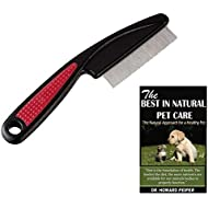Noondl Flea Comb for Long Haired Cats & Anti Knot Grooming Comb for Dogs Ruberised Easy Grip Handle Great for Rabbits too