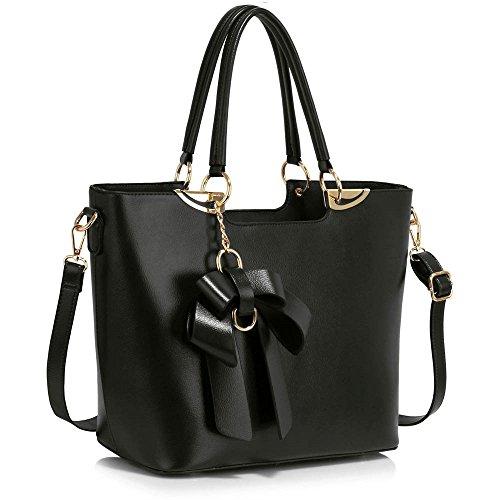LeahWard® Damen Mode Patent Handtasche mit Bogen Damen Chic Hoch Qualität Große Größe Handtasche Tote CWS00348 A Schwarz Tasche WITG Bogen Charme