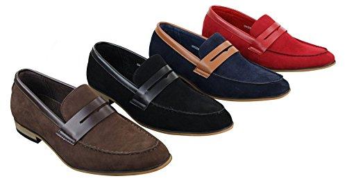 Mocassins homme daim PU sans lacets design italien style chic décontracté rouge marron bleu noir Noir