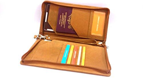 Leder Passport Wallet (akshide Unisex Weiches Leder Passport Travel Wallet Stil 5002 Braun Hellbraun)