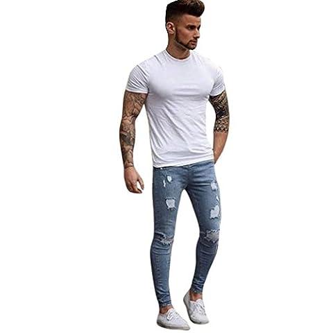 Klassisch Jeans FORH Mode Herren Denim Jeans Destroyed Skinny jeans Slim Fit Jogging Hose Boyfriend Style Straight Leg jeans Biker-Style Stretch Regular Jeanshose (4XL, Hell blau)