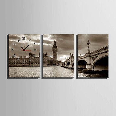 Y & M moderne/contemporain autres Horloge murale, rectangulaire tela35 x 50 cm (14inchx20inch) x3pcs/40 x 60 cm (16inchx24inch) x3pcs/50 x 24\