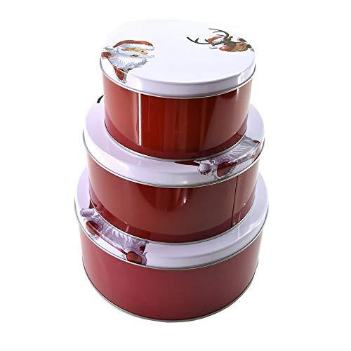 3-tlg. Set Gebäckdosen mit weihnachtlichen Motiven Ø 13-20 cm Keksdose Weihnachten Farbe Santa Claus -