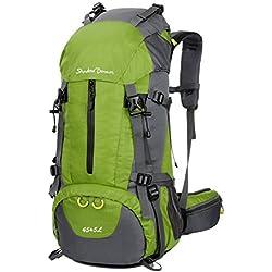 Sac à Dos randonnée 45L + 5L 50L 65L+5L Housse Imperméable pour Sport Sacs de Trekking Camping Backpack Alpinisme Escalade (45L+5L 06 Vert, 45L + 5L)