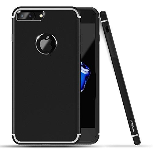 Cover iPhone 7 plus, Roybens Metallo Silicone 2 in 1 Ultra Sottile Antiurto Custodie Cover + Pellicola Vetro Temperato per 2016 Apple iPhone7 plus, Nera [Black], Original iPhone-sensazione in Mano - Alluminio Horse Head