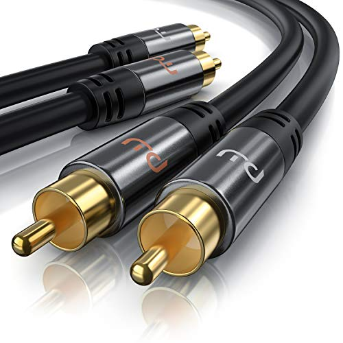 2m 2 x Cinch zu 2 x Cinch Kabel - Aux Eingänge Audio 2 x Cinch RCA Stecker zu 2 x Cinch RCA Stecker - Metall Stecker vergoldet doppelte Schirmung