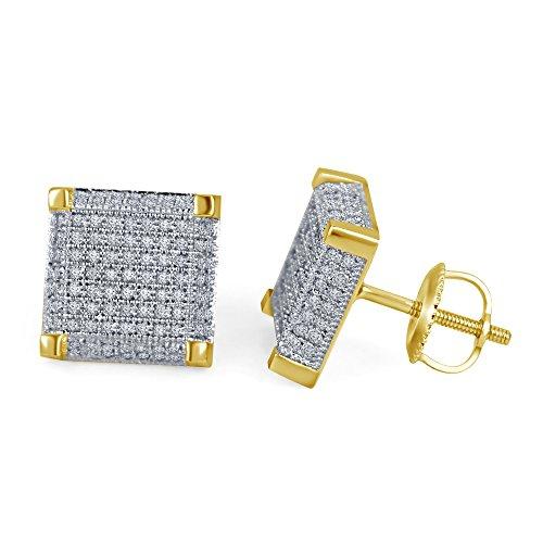 lilu Jewels Forever de diamant véritable Micro Pave Boucles d'oreilles clous Femme-Carré en Argent Sterling 925 14k Gold Plated