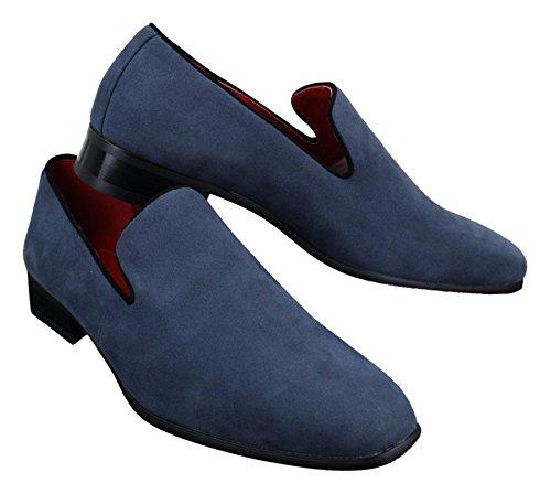 Herrenschuhe Blau Rot Schwarz Leather Futter Wildleder Optik Lässig Slip On Blau