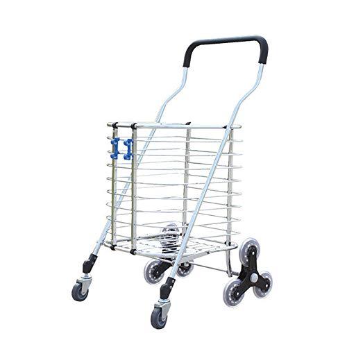 Einkaufstrolleys Tragbare Wagen Aluminium Treppe Klettern Große Lebensmittelgeschäft Warenkorb Faltbare Dienstprogramm Wagen