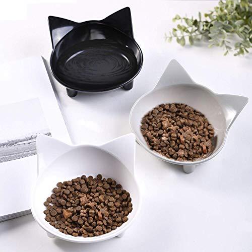 Xiruisz Futternapf Katzennäpfe, 3 Stück rutschfeste Futterschüssel, Katzen Fressnapf Set, Wasser Fütterung Schüssel für Katze (Schwarz-Weiß-Grau)
