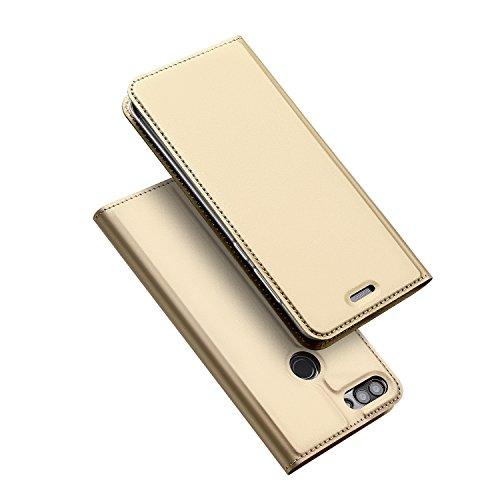 DUX DUCIS Huawei P Smart Hülle, Handyhülle [Standfunktion] [1 Kartenfach] [Magnetverschluss] [Golden] Ultra Dünn, Slim Flip Case Cover,Ledertasche Schutzhülle für Huawei P Smart (Skin Pro Series)